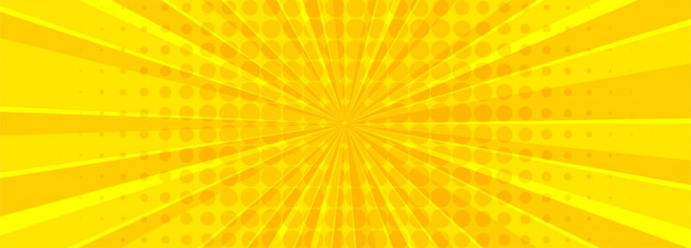美しい黄色の漫画バナー
