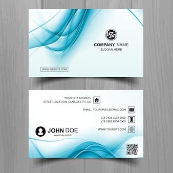 Синий волнистый визитная карточка