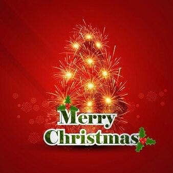 花火で作られたクリスマスツリーとカード