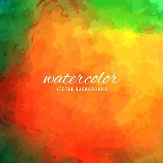 水彩画、緑とオレンジ
