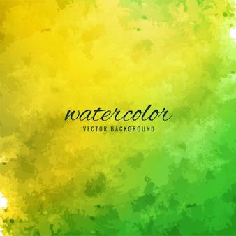 水彩画、緑と黄色