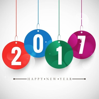 新しい年の吊り番号を持つ白い背景