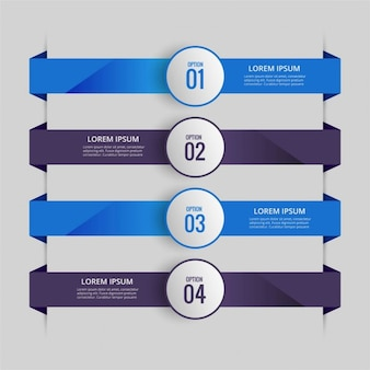 青と紫のタブを持つインフォグラフィック