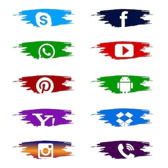 カラフルなアイコンのソーシャルメディアセット