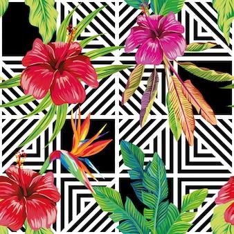 ハイビスカスバードオブパラダイスの幾何学的な黒白シームレスパターン
