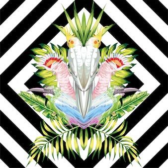 Зеркало попугай тропический листья черный белый геометрический