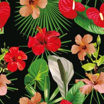 赤い花の葉黒シームレスパターン