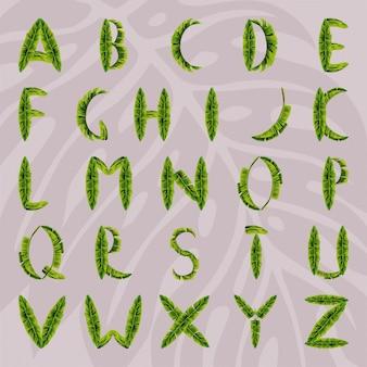 ヤシの葉から作られたアルファベット