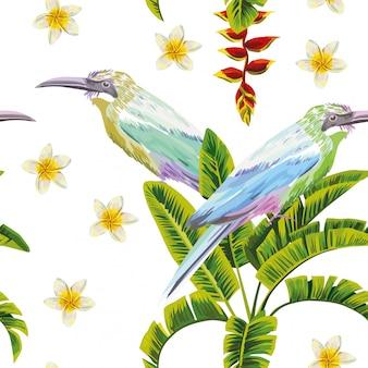 熱帯の鳥の花と植物のシームレスパターン