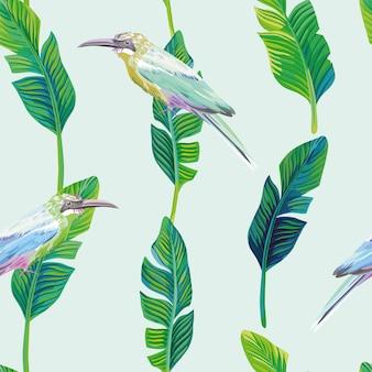 熱帯鳥のヤシの葉緑のシームレスパターン