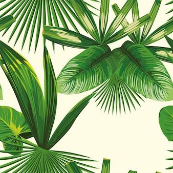 熱帯の葉のシームレスパターン