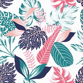 抽象的な色の葉のシームレスなパターンの壁紙