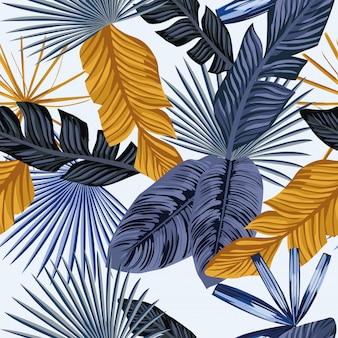 ブルーゴールドのヤシの葉のシームレスパターン壁紙