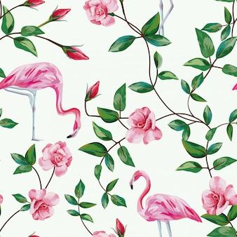 フラミンゴと枝バラのシームレスなパターンの壁紙