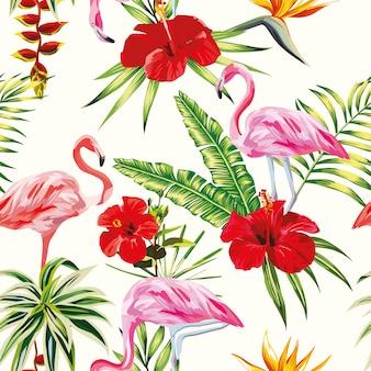 Тропическая композиция фламинго цветы и растения бесшовные модели