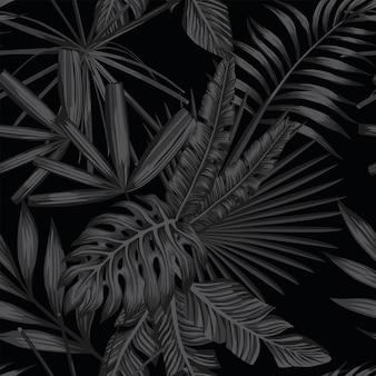 Тропический бесшовный узор в черном и сером стиле