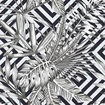 幾何学的な黒と白のスタイルで熱帯のシームレスパターン