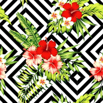 ハイビスカスとヤシの葉熱帯パターン、黒と白の幾何学的な背景