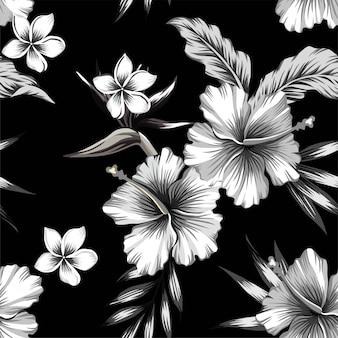ハイビスカスとヤシの葉の熱帯のシームレスパターン