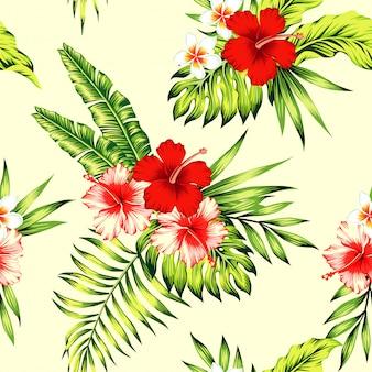 Гибискус и пальмовые листья тропический бесшовный фон