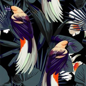 鳥、蘭の花、夜のジャングルのシームレスパターン