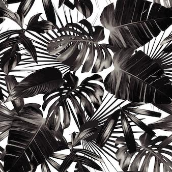 グラフィックのヤシの葉のシームレスな背景