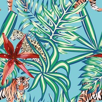 Тигр леопард тропический листья лилии бесшовный фон синий