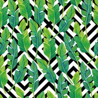 ヤシの葉のシームレスパターンブラックホワイトの幾何学的デザイン