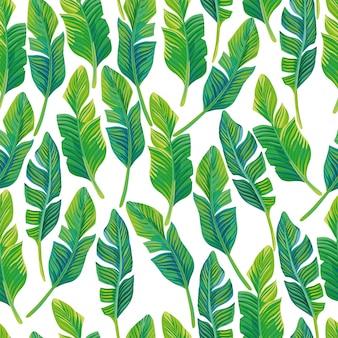 熱帯のヤシのシームレスパターンベクトル組成を残します。美しい熱帯の壁紙