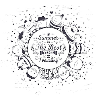 Летняя композиция с забавными монстрами и типографикой надписи. мультфильм черно-белые рисованной персонажей. набор красочных необычных существ