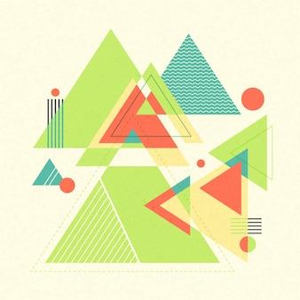抽象的な幾何学的な背景。レトロな混沌とした幾何学的図形、三角形。