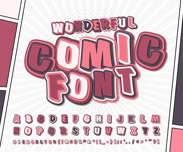 コミックとポップアートのスタイルでピンクの漫画アルファベット。装飾漫画本ページの文字と数字の面白いフォント