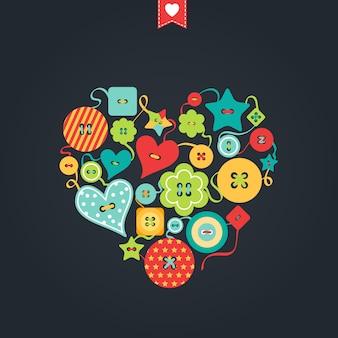 さまざまな形の色付きのボタン。創造的なグリーティングカード。幸せなバレンタインデー