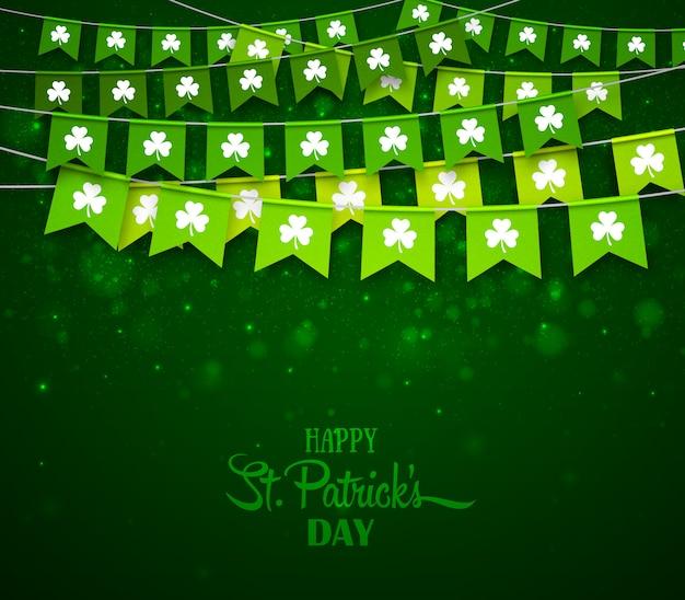 幸せな聖パトリックの日カード、クローバーと花輪