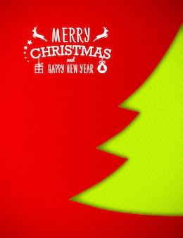Рождественский фон с елкой из бумаги