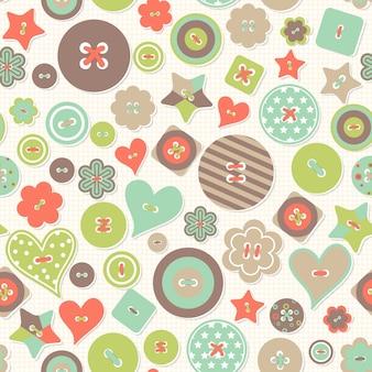 シームレスパターンベクトル。色付きのボタンの異なるフォームのカラフルな創造的な背景