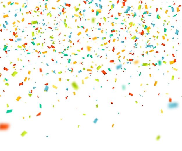 ランダムに落ちるカラフルな紙吹雪。飛行粒子と抽象的な背景