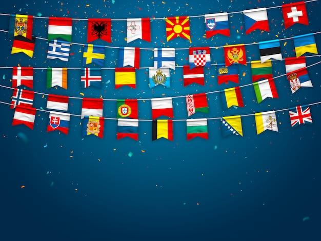 ヨーロッパのさまざまな国の旗の花輪