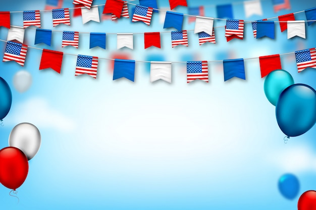 Красочные праздничные гирлянды из сша флаги и воздушные шары. день независимости америки и патриота