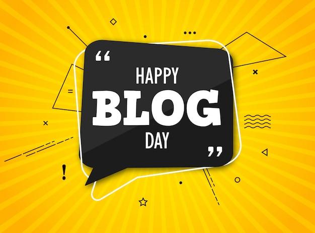 Праздничный блог-день. черный речи пузырь с цитатой на красочный желтый