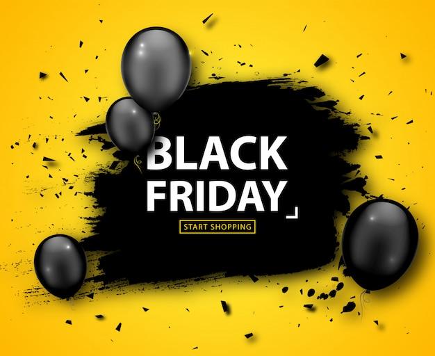 ブラックフライデーセールポスター。黒い風船と黄色の背景にグランジフレームと季節割引バナー。広告ショッピング、感謝祭の見切りの休日デザインテンプレート