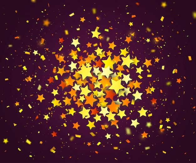 Разноцветные конфетти звезд и бумажных частиц рассеиваются случайно. темный фон с взрыва золотых звезд. шаблон оформления праздника можно использовать для поздравительной открытки, карнавала, торжества или праздничного