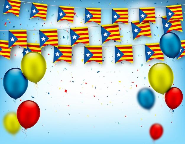 カタルーニャの旗と気球のカラフルなお祝い花輪。国民の祝日のための装飾的な愛国心が強い記号。カタルーニャ地方の独立、スペインの国民投票を祝うためのベクターバナー