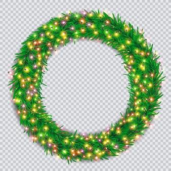 Рождественский венок с разноцветными светящимися гирляндами на прозрачном фоне
