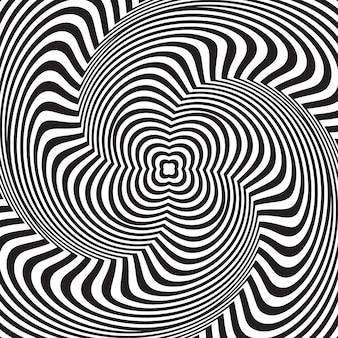 錯視。波状パターンと抽象的な背景。ブラックホワイトストライプスワール
