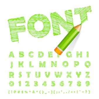 非常に詳細な緑色の鉛筆で描かれた緑色のフォント