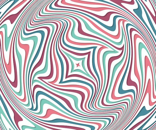 錯視。波状パターンと抽象的な背景。カラフルなストライプの渦巻き