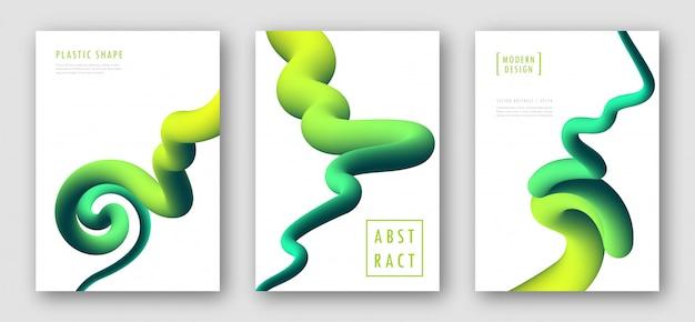 緑のグラデーション波とポスター