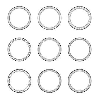 飾りと黒のビンテージ円形フレームのセット