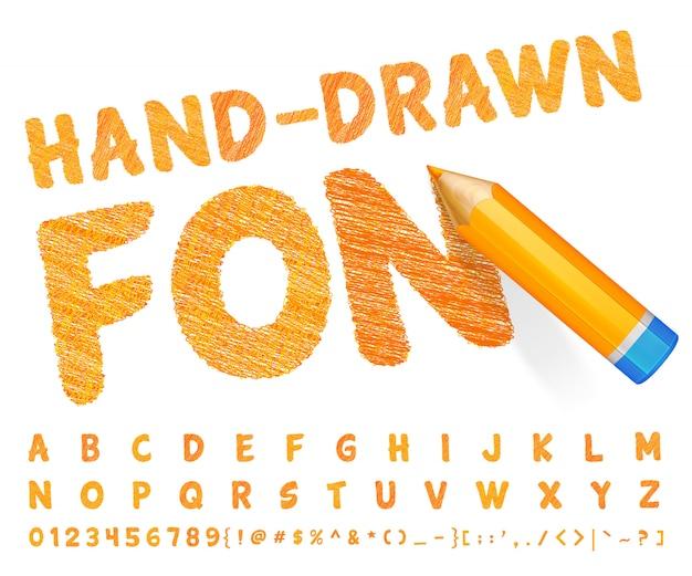 非常に詳細なオレンジ色の鉛筆で描かれたオレンジ色のフォント